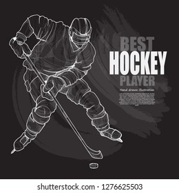 illustration set of hockey player. hockey chalk drawing style.