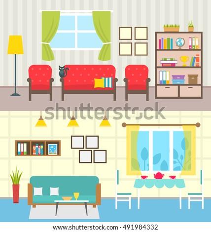 Illustration Set Home Interiors Design Living Stock Vector Royalty Custom Design Home Interiors Set