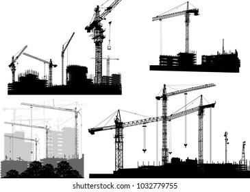 illustration with set of house buildings and cranes isolated on white background