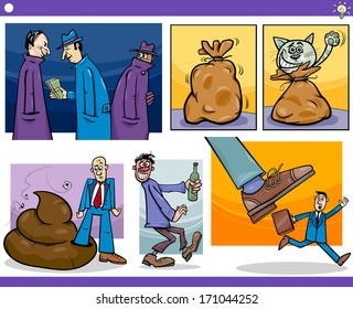 Illustration Set of Humorous Cartoon Vector Concepts or Ideas and Metaphors with Funny Characters