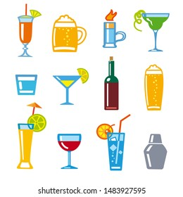 illustration of set icons alcohol drinks and cocktails for bar