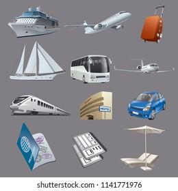 illustration of set images for traveling and resort