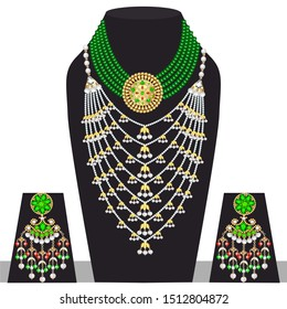 Illustration set of indian  wedding necklace and earrings