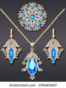 Illustration of a set of jewelry from a brooch pendant and earrings with precious stones.