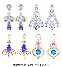 Illustration set of jewelry earrings with precious stones isolated on white background.