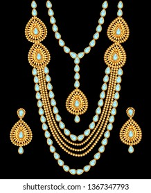 Illustration of a set of jewelry: necklace and earrings for wedding