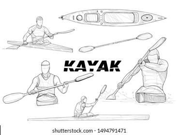 illustration set of a kayak. drawing vector style. sport background. sport sketch