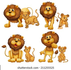 Illustration of a set of lions