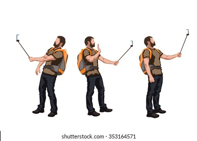illustration of set of male color tourist in different poses
