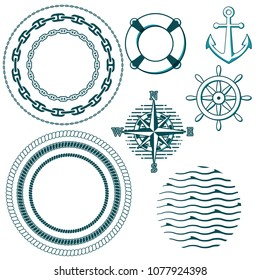 Illustration of set of marine design elements. Circles of chains and ropes, bell, lifebuoy, rose of the winds compass and waves.