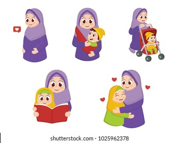 Illustration Set Of Mom & Child Character with Cartoon Style