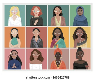illustration set of multiracial young traditional women with different skin colour, hair type and costume. Portrait of multi-ethnics many nationality and cultures.