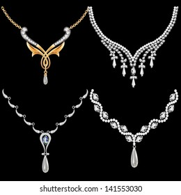 illustration of a set of necklace women with precious stones