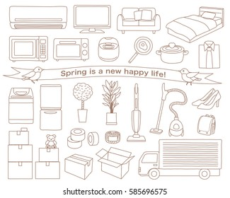 Illustration set of new life appliances and furniture