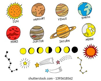 Illustration set of planets and stars (color)