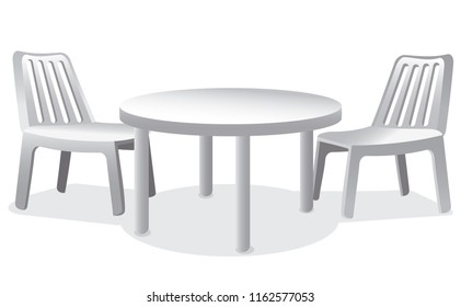 illustration of set of plastic furniture