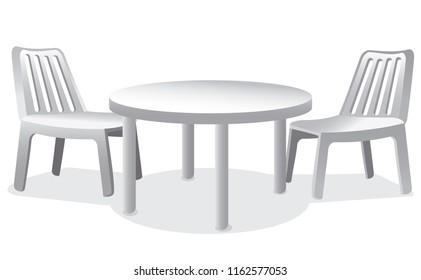 illustration of set of plastic furniture