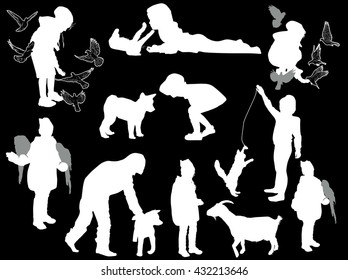 illustration with set of playing girls and animals isolated on black background