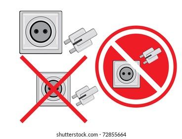 Illustration Set of plug and socket.
