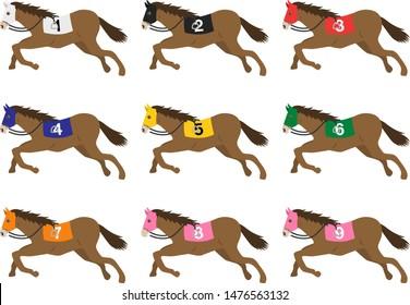 Illustration of a set of racehorses. Horse illustration.