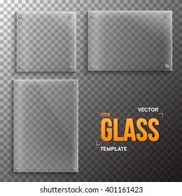 Illustration of Set of Realistic Vector Glass Frame Template. EPS10 Vector Plastic Plate Set Isolated on Transparent Style Background
