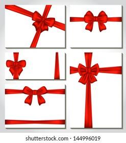 Illustration set of red gift bows for design packing - vector