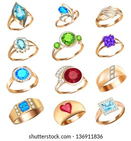 illustration  set of rings with precious stones on a white background