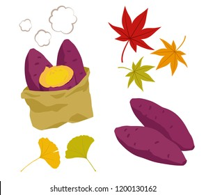 Illustration set of roasted sweet potato and autumn leaves