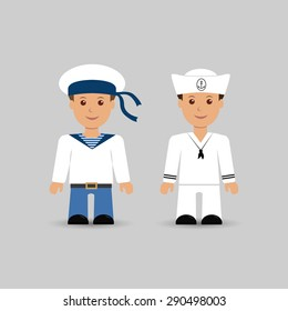 Illustration of the set sailors. Vector EPS10.