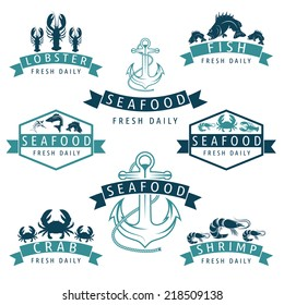 Illustration set of seafood Labels in retro style.Vector