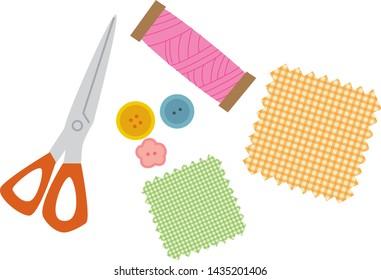 Illustration set of sewing tools