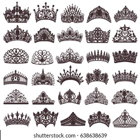 illustration set of silhouettes of ancient crowns, tiaras, tiara