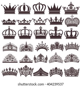 illustration set of silhouettes of vintage crown