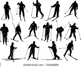illustration with set of skiers isolated on white background
