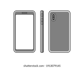 Illustration set of smartphones seen from various angles.
