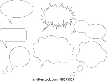 illustration with set of speech bubbles on white background