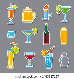 illustration of set stickers alcohol drinks and cocktails for bar
