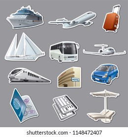 illustration of set stickers for traveling and resort