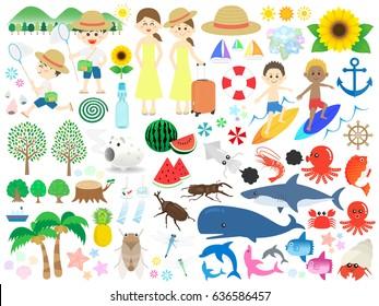 Illustration set for summer vacation