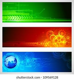 illustration of set of technology banner for designing
