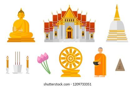 Illustration Set of Thai Buddhism Isolated on White - Vector Illustration