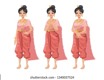 illustration set Thai women in Thai traditional dress. Thai woman in Thai traditional dress is 'Sawasdee'. Traditional southeast Asian costume