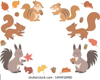 Illustration set of three kinds of squirrels and autumn leaves and acorns
