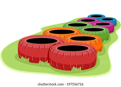 Illustration of a Set of Tires in an Obstacle Course