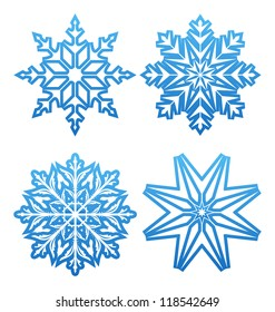 Illustration set of variation snowflakes isolated - vector