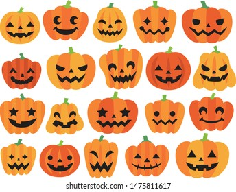 Illustration set of various Halloween pumpkins
