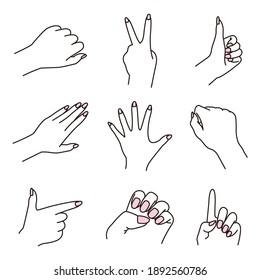 Illustration set of various hands