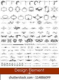 illustration of set of vintage design elements