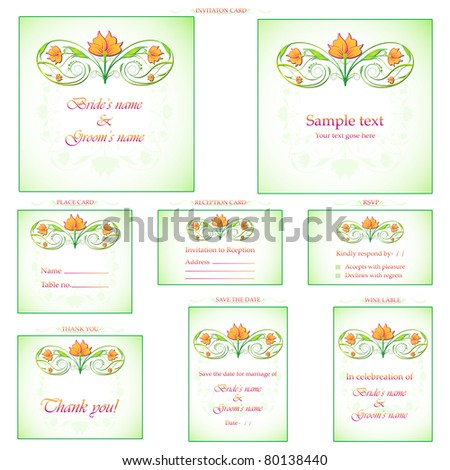 Illustration Set Wedding Reception Invitation Card Stock