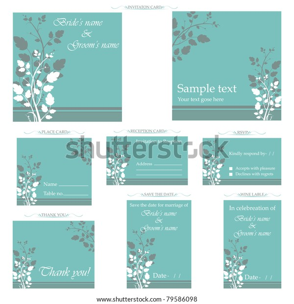 Illustration Set Wedding Reception Invitation Card Stock